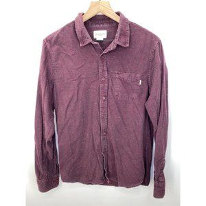 Obey Long Sleeve Button-Down Shirt Red Size Medium